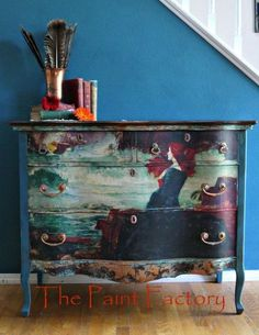 Exquisite hand painted dresser - STUNNING! Great idea for a furniture makeover! #paintedfurniture