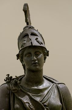Bronze statue of Athene ('The Peiraeus Athena'), by Kephisodotos Euphranor, 340-30 BC; some of the Greek goddess's symbolic attributes are visible: her helmet; the owls on her helmet; and her snake-fringed aegis. (Archaeological Museum of Piraeus, Athens © 2014. Photo: I. Sh).