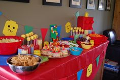 Lego Party: food table  @Jessica Marlene can you do lego heads too??