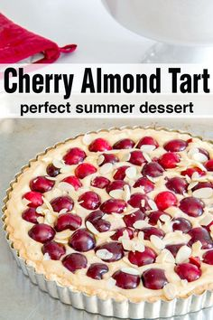 cherry and almond tart is one of those amazing, delicious, show stopper desserts that are so much easier to make than you think. I love making this in the late spring / summer when cherries start popping up in season our grocery stores. Cherry Desserts, Cherry Recipes, Tart Recipes, Almond Recipes, Summer Desserts, Easy Desserts, Delicious Desserts, Dessert Recipes, Beef Recipes