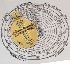 Rosecrucian pendant. Yellow gold, rubies and diamonds. #amorc #cross
