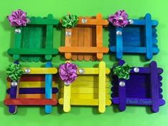 Easy Crafts For Kids, Fun Crafts, Arts And Crafts, Paper Crafts, Butterfly Crafts, Flower Crafts, Diy Popsicle Stick Crafts, Popsicle Sticks, Photo Frames For Kids