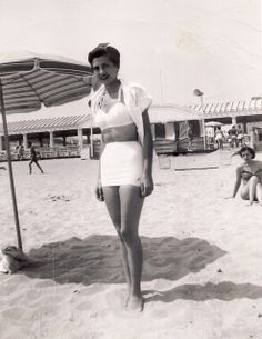 Bathing Beauty, Jones Beach, 1950 ... Jones Beach was the safety valve of New York City. My mom (above) and I usually went to Orchard Beach in the Bronx, but it was often sweltering there and the orange, odoriferous water, especially in those years, was anything but pleasant. So off we went to Jones ... Bathing suits back then just looked so much better!