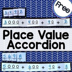 Place Value Accordion - great for Interactive Notebooks focused on Numbers and Base Ten strategies. I love the variety of scaffolding. Teaching Place Values, Teaching Math, Teaching Ideas, Maths, Math Math, Math Resources, Math Activities, Math Games, Expanded Notation