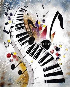 Dancing Keys original painting of music, by Virgil C. Stephens