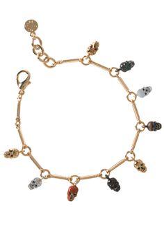 Goldtone Drop Skull Bracelet