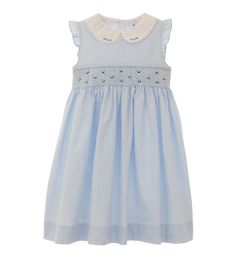 Girls darling dress featuring smocked detail and delicate flower embroidery at front. Attached sash and 3-button closure in back. Cotton lined bodice.-- This dress has a very Cinderella feel to it for me. I love it! #MyHartstrings