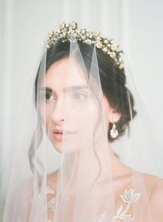 Ethereal Bridal Shoot Inspired by the Clouds with Claire Pettibone Lace Gowns ⋆ Ruffled - Oh, pinch me I'm dreaming! This ethereal bridal session is a dream. From the heavenly floral arra - Bridal Session, Bridal Shoot, Bridal Hair, Bridal Headpieces, Bridal Crown, Bridal Beauty, Ethereal Wedding Dress, Wedding Veils, Lace Wedding