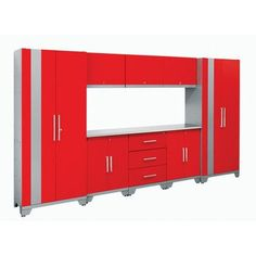 NewAge Products Performance Series 6' H x 11' W x 1.5' D 9 Piece Cabinet Set Color: Red