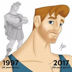 Hercules - Before and After Disney Pixar, Disney Boys, Disney And Dreamworks, Disney Movies, Disney Stuff, Disney Frozen, Dark Disney Art, Art Disney, Disney Magic