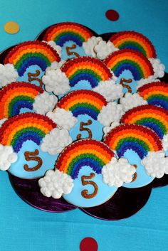 Decorated rainbow cookies at a My Little Pony Birthday Party! See more party ideas at CatchMyParty.com!