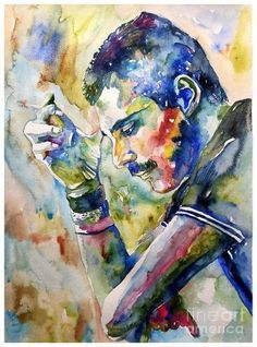 Rock and roll wall art - painting - freddie mercury with cigarette by suzann sines Canvas Art, Canvas Prints, Art Prints, Winsor And Newton Watercolor, Queen Art, We Will Rock You, Queen Freddie Mercury, Rock And Roll, Watercolor Art