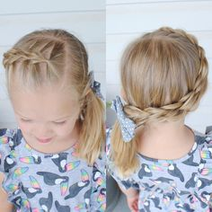 Three strand pull through braid into a side ponytail Easy Toddler Hairstyles, Toddler Braids, Braided Hairstyles For Wedding, Braids For Kids, Girls Braids, Little Girl Hairstyles, Teenage Hairstyles, Dance Competition Hair, Side Braid Ponytail