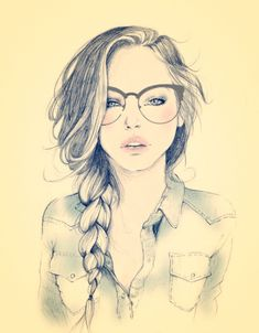 girl sketch, eyewear fashion illustration #fashion #illustration