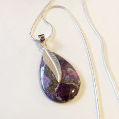 Jasper pendant with Sterling Silver necklace. Offered by HappyLilac SOLD
