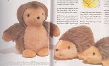 """SEWING PATTERN  Book Extract TO SEW A Cute Hedgehog Family 8"""" & 7"""" Soft Toys"""