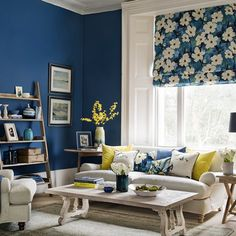 Simple country look with a swather of deep dramatic blue and a little vintage-inspired floral pattern