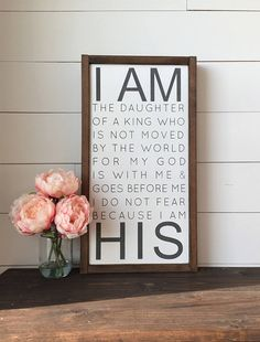 I AM the Daughter of a King Wall Decor Framed Wood Sign
