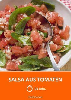 Salsa aus Tomaten - schnelles Rezept - einfaches Gericht - So gesund ist das Rezept: 9,3/10 | Eine Rezeptidee von EAT SMARTER | Paleo-Diät, Paleo Snacks, Paleo Beilagen, Fruchtgemüse, Kräuter, Aufstrich, Beilage, Vegan, Vegetarisch #salsa #gesunderezepte Paleo Snack, Salsa, Eat Smarter, Mexican, Snacks, Vegan, Ethnic Recipes, Food, Fruits And Vegetables