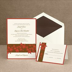 Band of Leaves - Red - Invitation | Invitations By Dawn