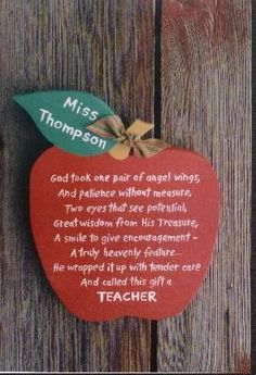 Poem for teacher.  So sweet.  As a catholic school teacher, I would actually be able to post this in my classroom!