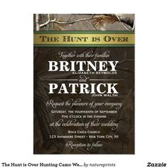 The Hunt is Over Camo Camouflage Hunting Camo Wedding Invites Announcements Invitations  #wedding #camo #hunting