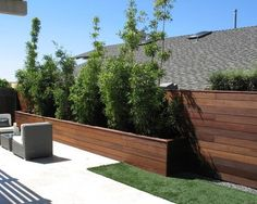 horizontal fence with a dark stain