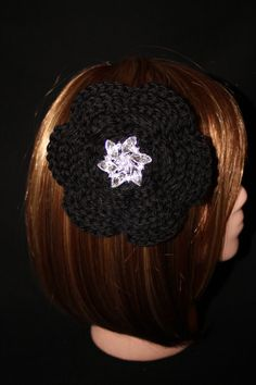 Extra Large Black Flower Hair and Accessory by RedRoseAccessories