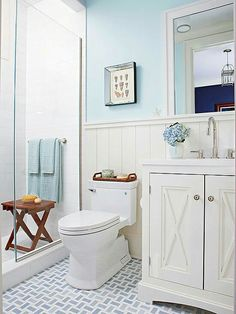 Good Blue U0026 White Cottage Bathroom Ideas: Open And Airy.