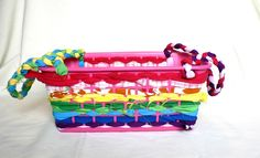 No Sew Scrap Fabric Basket with Handles - cute alternative to gift bags or Easter baskets!