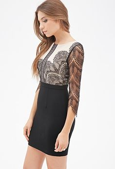 Lace-Paneled Combo Dress | Forever 21 - 2000137179