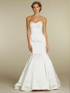 romantic silk faced satin trumpet wedding dress with draped empire bodice