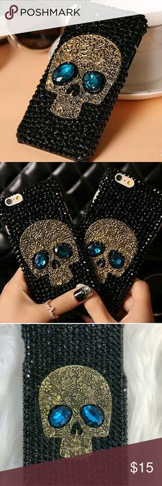 iPhone case | Skull 6/6s & 6 pluse NEW Rhinestone Black Skull Case.   SELECT CORRECT SIZE BELOW  🔸Made of High Quality 🔸Polycarbonate jewel covered 🔸Exclusive iPhone 6/6s and iPhone 6/PLUS  🔸Hardcover black Jeweled cover  🔸Covers back and sides 🔸Side slides   🔸save more with items bundle - Make a offer all are accepted - happy phosing Accessories