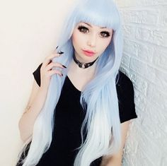 ☄Check out #PastelGoth babe @mischiefdoll in our sleek #OmbreAlexa Collection in #SaxFade!  A true #doll! www.GothicLolitaWigs.com • @RockALash ⭐️ @Wig4Wig • . #gothiclolitawigs #glw #egl #eglcommunity #rockstarwigs #cosplaywigs #wig #hair #bluehair #blueombre #ombrewig #ombre #cosplaygirl #bluewig #hairgoals #wakeupandmakeup #goth #makeup #beautyblogger #kawaii #kawaiigirl #harajuku