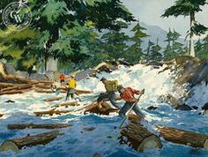 James March Phillips - Log jam in the Rapids, c. 1950 - California art - fine art print for sale, giclee watercolor print - Californiawatercolor.com