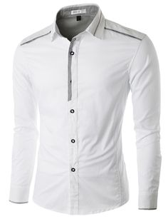 Doublju Men's Casual Button Down Shirt with Piping Detail #doublju