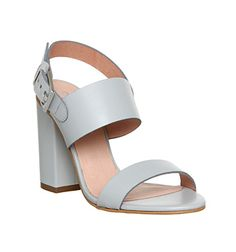 55ec8580213cda Office Garland Strappy Block Heel Grey Leather - High Heels Chunky Sandals