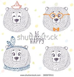 Beautiful set with cute and funny emoticon bear in sketch style. Vector illustration