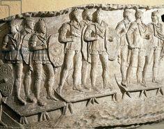 Model of Trajan's Column (Rome), detail, Soldiers crossing bridge