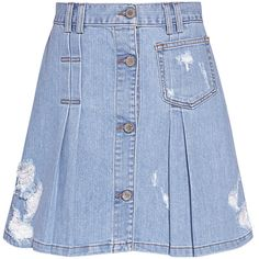 e6ead99da1 Public School - Penny Pleated Distress A-line Denim Mini Skirt ($375) ❤