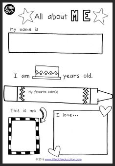 All about Myself Theme Activities and Printables