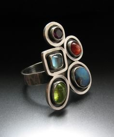 Ring | Ashley Akers.  Sterling silver, Peridot, milky blue Turquoise, Salmon and Red Coral and Amethyst