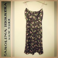 Carolina Herrera $1,175 ultra-feminine pleated beet print silk dress sz.2 @resaleriches price: $150 www.resalerichesnyc.com