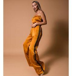 Σατέν Ολόσωμη Φόρμα Strapless - Ώχρα One Shoulder, Fall Winter, Jumpsuit, Formal Dresses, Fashion, Overalls, Dresses For Formal, Moda, Monkeys