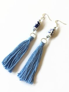 Light Blue Tassel Earrings with Hand Painted by JulemiJewelry