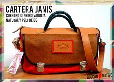 CARTERA | JANIS -Cuero Gamuzado Rojo -Cuero Vaqueta Natural -Cuero negro -Cuero Pelo Beige -Herrajes Níquel CARTERAS DE CUERO | Bolcan Nativo
