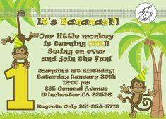 planning a monkey themed party | Monkey Themed 1st Birthday Invitations --