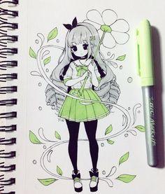Anime Natural Hair Styles images of natural hair styles Cute Cartoon Drawings, Cute Kawaii Drawings, Anime Drawings Sketches, Cartoon Art Styles, Kawaii Art, Cool Drawings, Art Anime, Anime Art Girl, Arte Copic