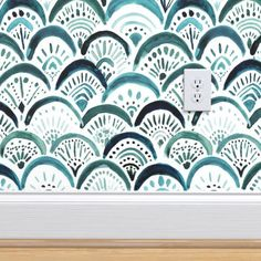 Mermaid Wallpaper - Mermaid Lagoon By Crystal Walen - Blue Scallops Custom Printed Removable Self Adhesive Wallpaper Roll by Spoonflower Accent Wallpaper, Bold Wallpaper, Bathroom Wallpaper, Perfect Wallpaper, Custom Wallpaper, Wallpaper Roll, Peel And Stick Wallpaper, Bathroom Mural, Painted Wallpaper