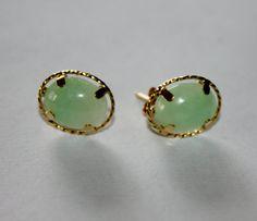 Vintage Jade Earrings 14kt Apple 1970s Jewelry by patwatty on Etsy, $35.00